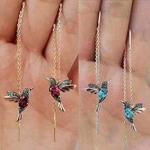 Boucles d'oreilles en forme d'oiseau colibri pour femmes, 1 paire, 2 styles de strass, longues pampilles, bijoux à la mode