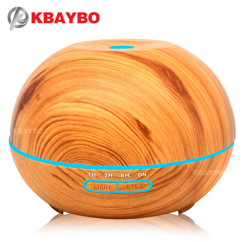 400ml Ultrasonic Humidifier Aroma Essential Oil Diffuser Wood Grain Cool Mist Humidifier Aromatherapy Diffuser With 7 Color LED