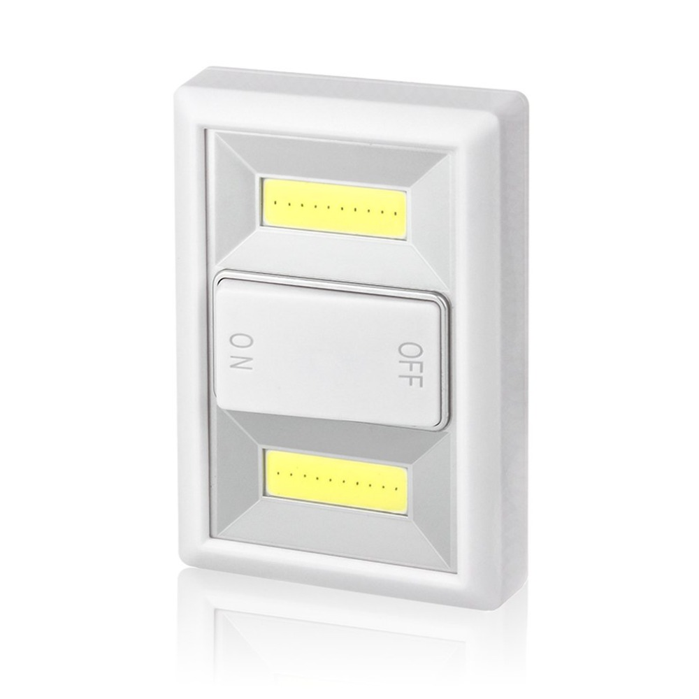 COB LED Lamp With ON/OFF Switch Wall Light Battery Operated Small Night Light Cabinet Lamp Hallway Kitchen Emergency Light