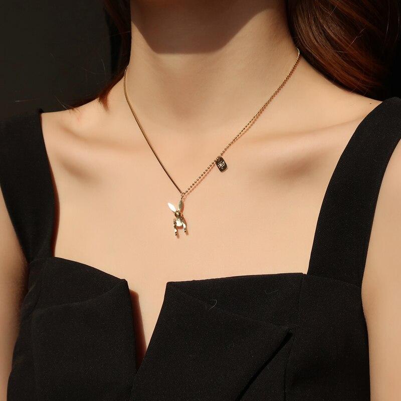 Ожерелье-подвеска «кролик на удачу» YUN RUO, желтое золото, 316 л, титановая сталь, ювелирные изделия, подарок женщине, не выцветает, гипоаллерген...