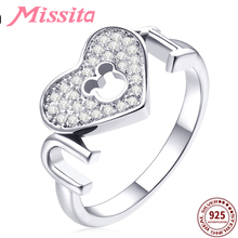 MISSITA 925 Sterling Silver Hollow Mickey Pattern Crystal Heart Rings for Women Brand Silver Jewelry Ring Gift For Mother цена 2017