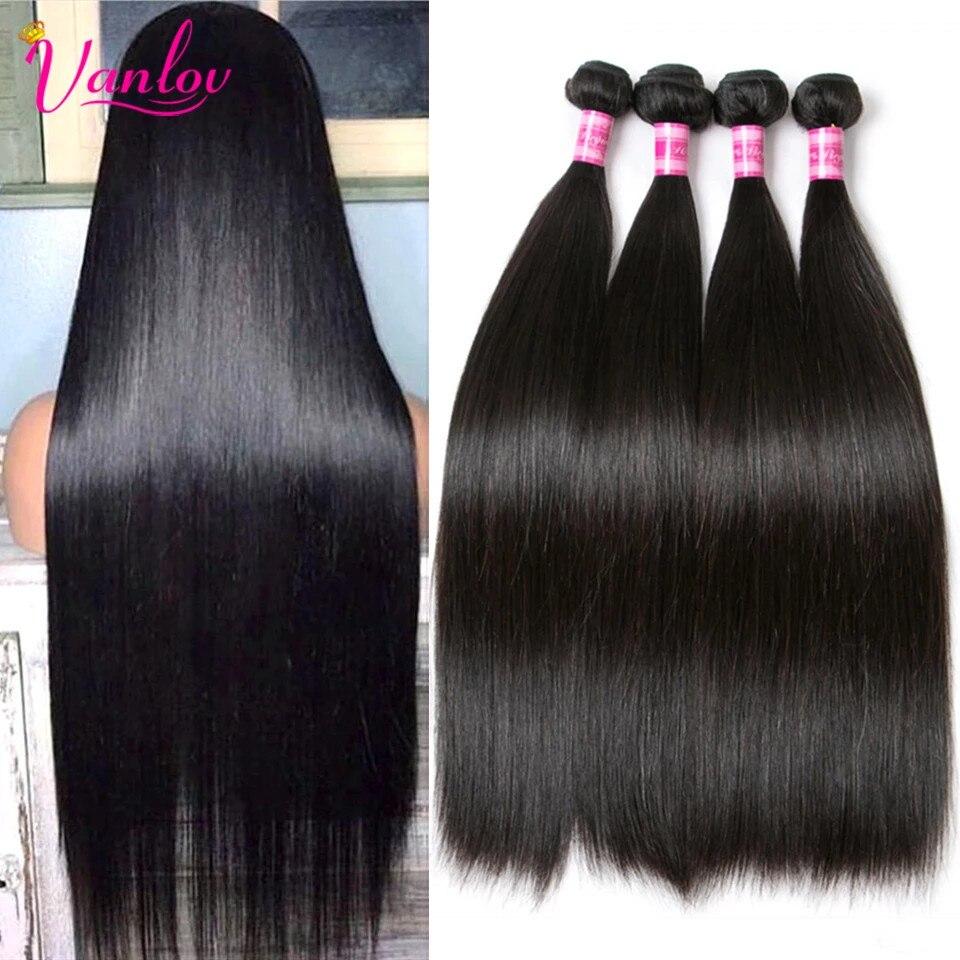Vanlov перуанские прямые волосы, человеческие волосы, пряди для наращивания, натуральные черные и струйные черные 100 искусственные волосы с дв...