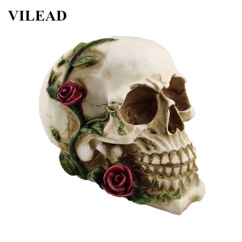VILEAD Rose Skull Statue Resin Crafts Animal Skull  Props Bar Counter Home Decoration Sculpture Gifts  Halloween Decoration