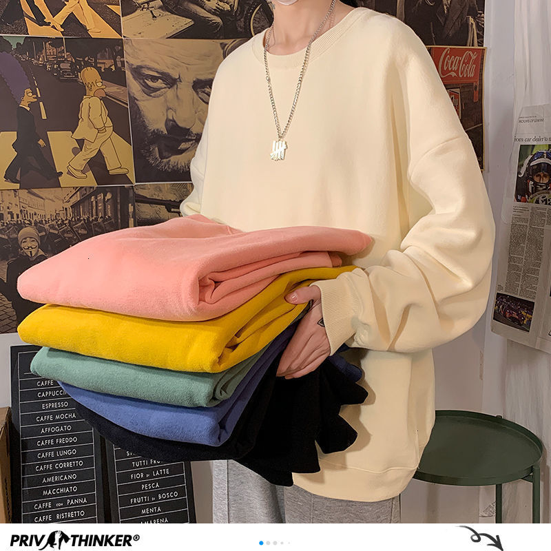 Privathinker Solid Color Basic Men Hoodies Autumn Fashion New Men's Pullovers 22 Colors Man Streetwear Casual Couple Sweatshirts