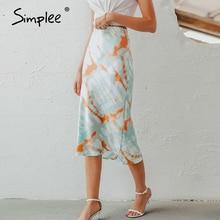 Simplee Tie Dyeพิมพ์Midiกระโปรงผู้หญิงฤดูใบไม้ร่วงElastic highเอวหญิงกระโปรงCasual streetwearปาร์ตี้คลับสุภาพสตรีกระโปรงด้านล่าง