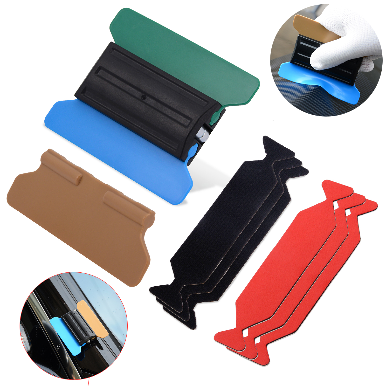 FOSHIO Vinyl Wrap Car Film Magnetic Squeegee+6pcs Scrapper Fabric Cloth Carbon Fiber Sticker Window Tint Tool Kit Accessories