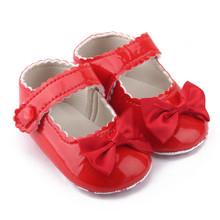 Baby Girl Bowknot buty jednolity kolor Leater buty Sneaker antypoślizgowa miękka podeszwa maluch słodkie słodkie dziecko księżniczka Casual mieszkania buty tanie tanio ISHOWTIENDA CN (pochodzenie) CZTERY PORY ROKU Dziecko dla obu płci W wieku 0-6m Węzeł motylkowy Hook loop Stałe Buty do nauki chodzenia
