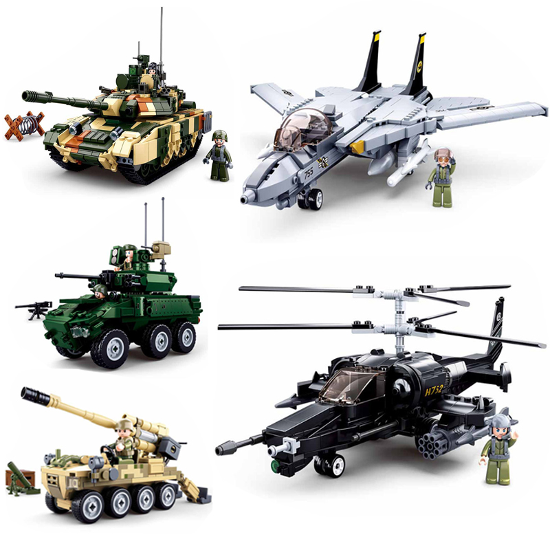 Military T90MS Tank F-14 Fighter Chariot Helicopter Building Blocks Model Legoing Military Bricks Modern Weapon Toys For Kids