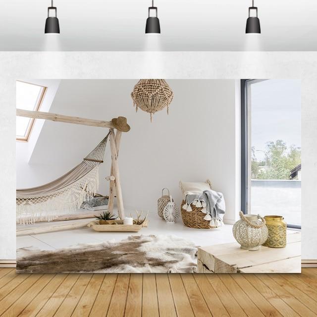 Laeacco Võng Xe Tăng Bình Gỗ Đèn Chùm Cửa Sổ Phòng Bé Trang Trí Nội Thất Chụp Ảnh Phông Nền Chụp Ảnh Nền Đạo Cụ