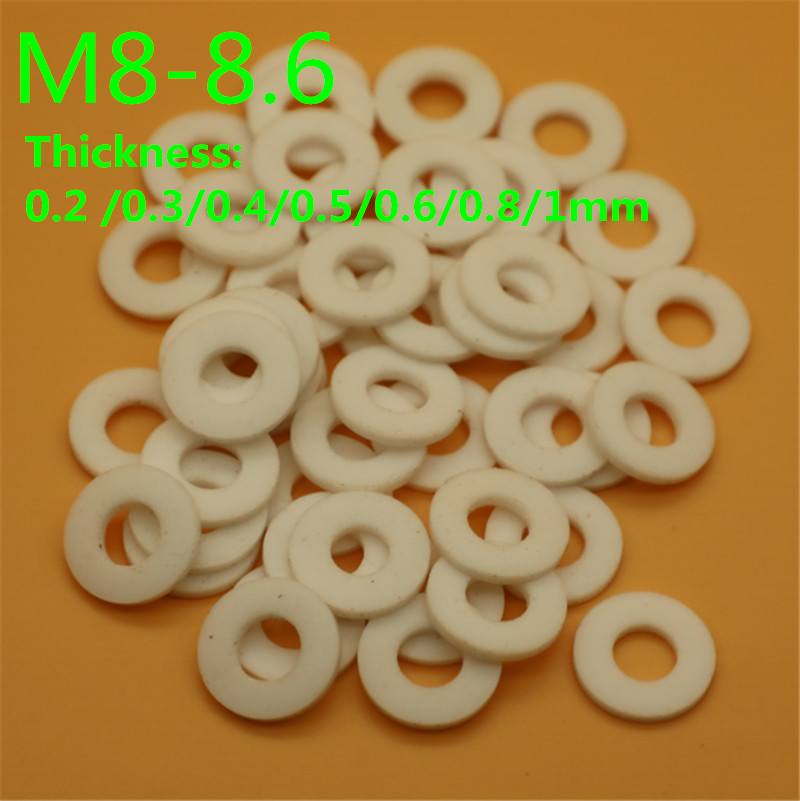 100pcs <font><b>M8</b></font> M9 M10 PTFE <font><b>washer</b></font> gasket Poly tetra fluoroethylene <font><b>washer</b></font> high temperature 0.2/0.3/0.4/0.5/0.6/0.8/1mm thickness image