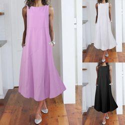 Women Sundress Celmia 2021 Summer Casual Beach A-line Dress Sleeveless Solid Midi Fashion Pockets Female Plus Size Vestidos 5XL