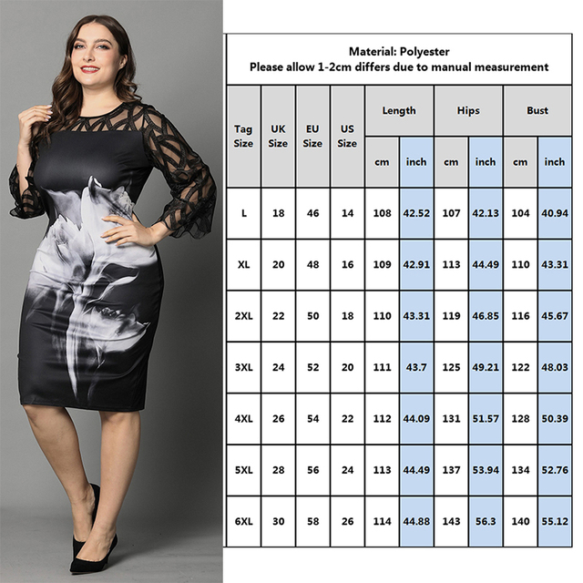 L-6XL Plus Size Dress Ladies Casual Lace 3/4Sleeve Openwork Elegant Dresses Women Spring Fall White Rose Print Black Dress 2
