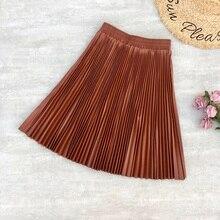 Spring Women Mini Skirt PU Letaher Pleated Short Skirt Flare A Line High Waist Women's Skirt Sakter