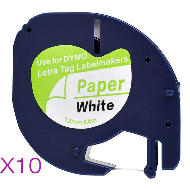 10 Compatible Dymo LetraTag 91200 Black on White (12mm x 4m) Paper Label Tapes for LT 100H, LT 100T, LT 110T, QX 50, XR, XM