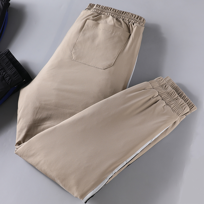 JSBD19 Winter Padded Warm Cotton Pants For Men With Woven Belt And Down Cotton Padding For Men With Padded Slim Casual Pants