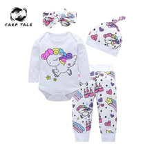 4PCS Newborn Baby Girl Clothes Sets Infant Fashion Unicorn Pegasus Star Heart Castle Tops Pants Hat Headband Clothing