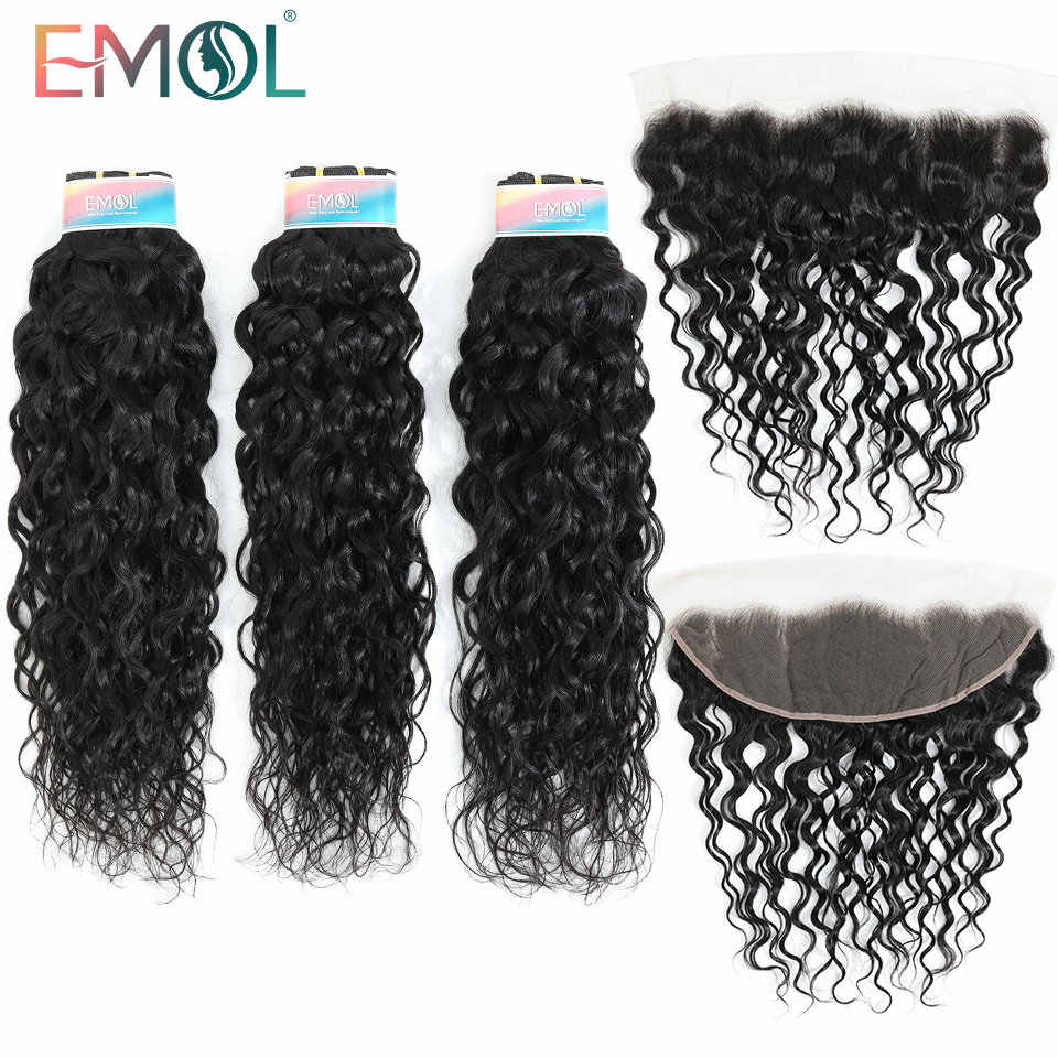 Emol Peruvian Water Wave Bundles With Closure Frontal 13*4 Human Hair Bundles Non-Remy Human Hair Extensions