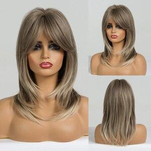 Image 5 - EASIHAIR ความยาวปานกลาง ASH สีเทาวิกผมสังเคราะห์ผู้หญิง Wigs กับ Bangs Layered COSPLAY วิกผมสีบลอนด์ทุกวันวิกผม