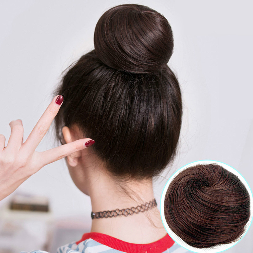 Buqi Short Straight Hair Chignon Heat Resistant Hairpieces Synthetic Fashion Women Clip In Hair Extensions Hair Accessories