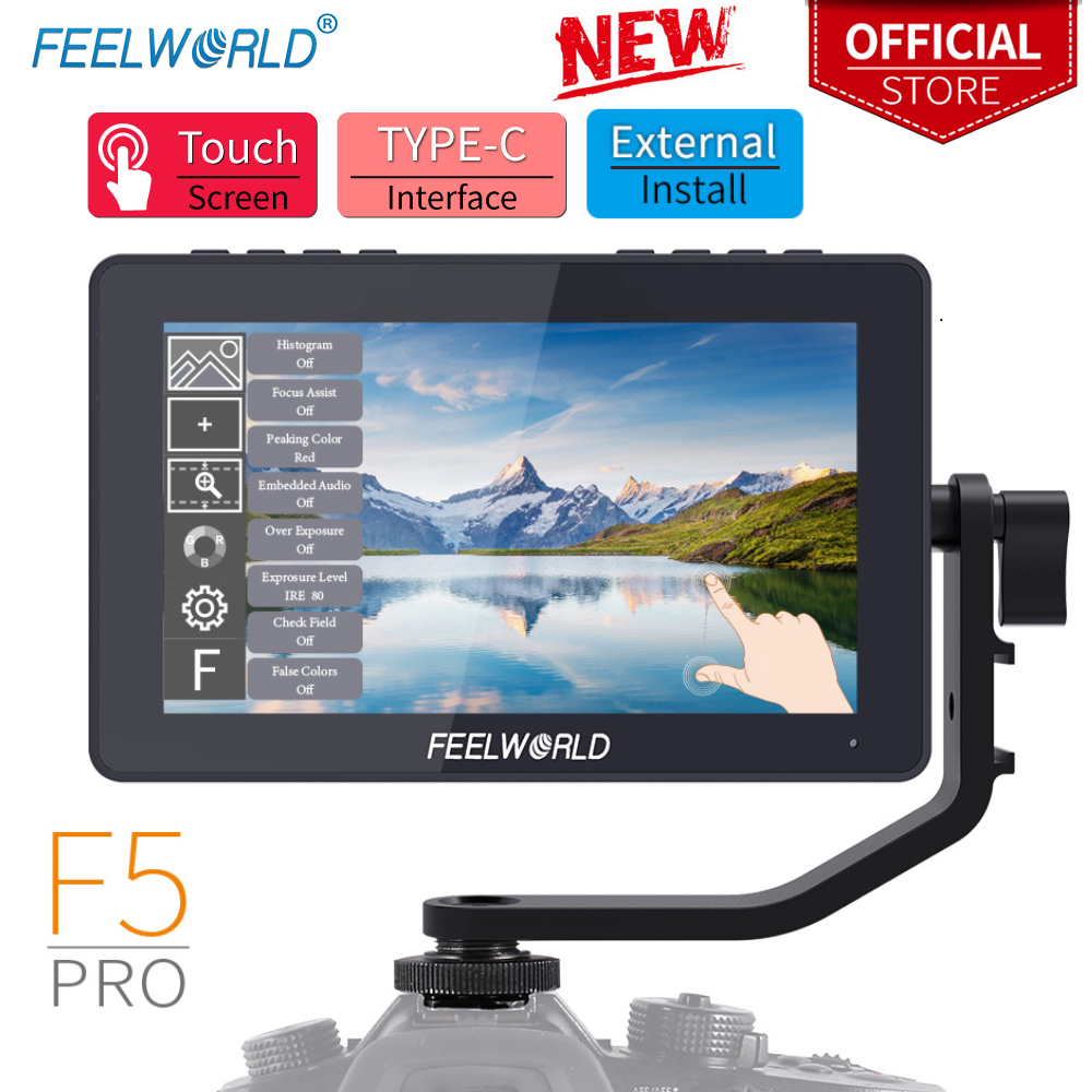 FEELWORLD F5 Pro 5 5 Inch on DSLR Camera Field Monitor Touch Screen IPS FHD1920x1080 4K HDMI Video Focus Assist for Gimbal Rig