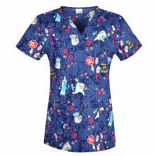 Women Scrub Top With V Neck 100% Cotton Print scrub Uniforms Nurse Scrub Tops For Women