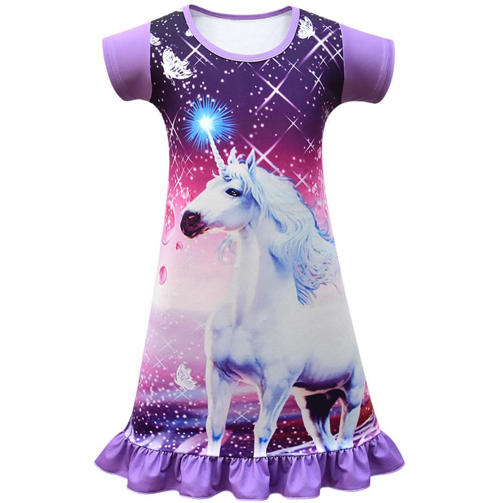 Summer Girls Dress Cartoon Unicorn Pajamas Kids Party Costume Princess Frocks Toddler Nightdress Baby Homewear Children Vestidos 1