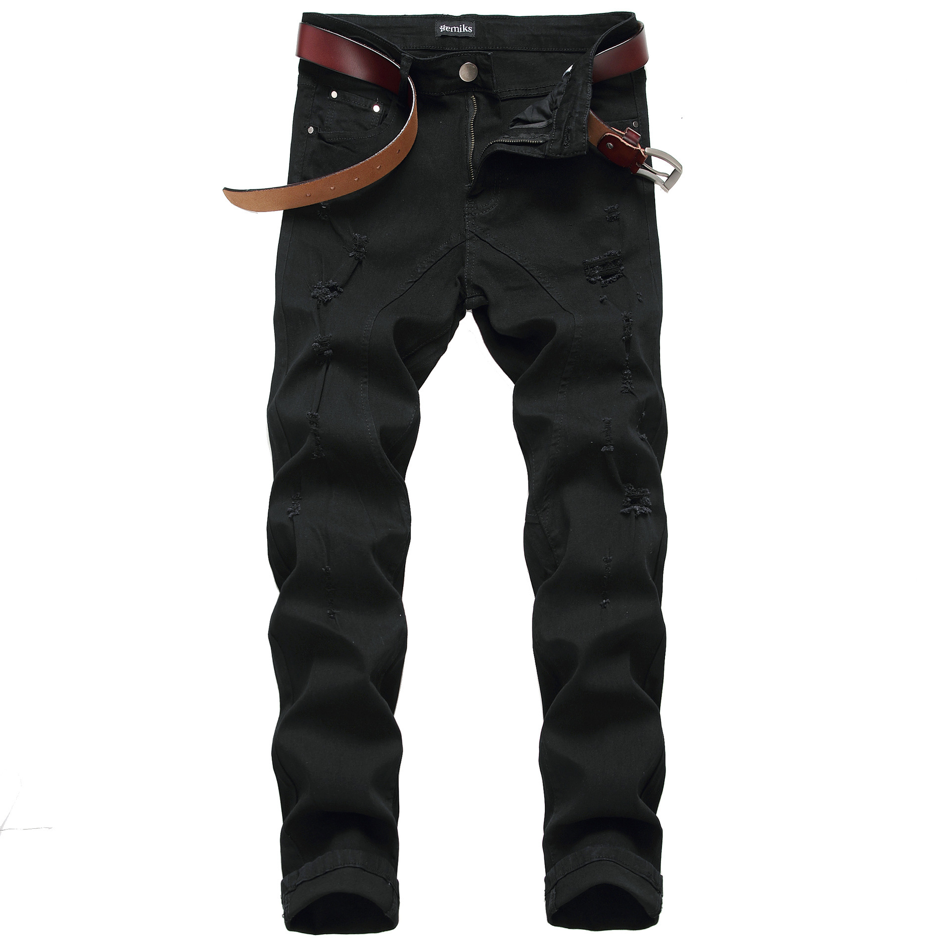 Europe And America Men'S Wear Slim Fit With Holes Jeans Men's Style Tattered Cool Trend Jeans