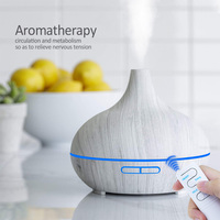550ml Ultrasonic Electric Air Humidifier remote controlAroma Oil Diffuser White Wood Grain 7 colors LED Lights for home