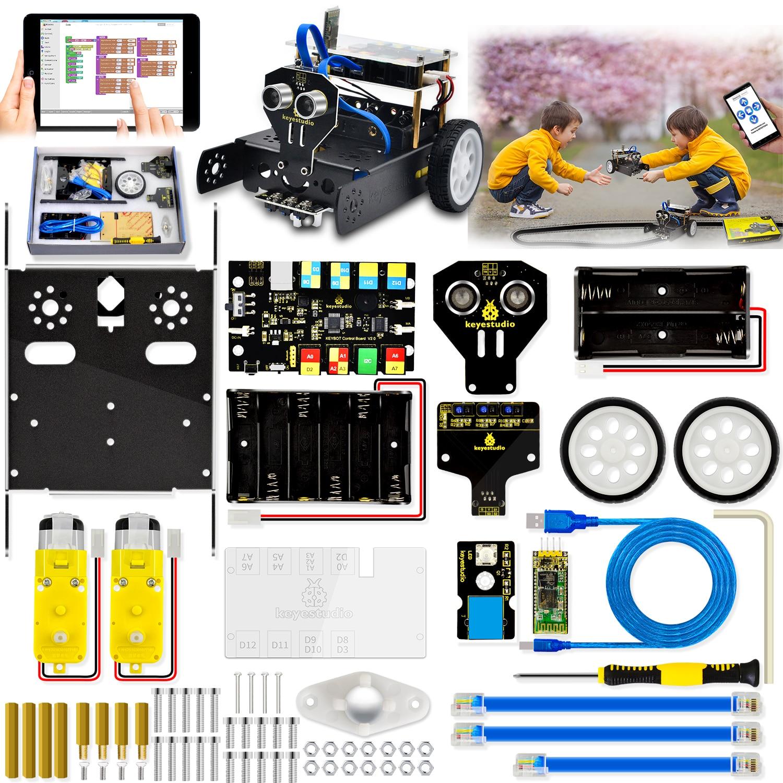 Программируемый Обучающий робот Keyestudio KEYBOT TB6612 с управлением RJ11 для графического программирования Arduino Robot