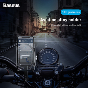 Image 2 - Baseus Motorcycle Bicycle Phone Holder For iPhone Samsung Bike Mobile Phone Stand Handlebar Clip Moto Mount Bracket Bike Holder