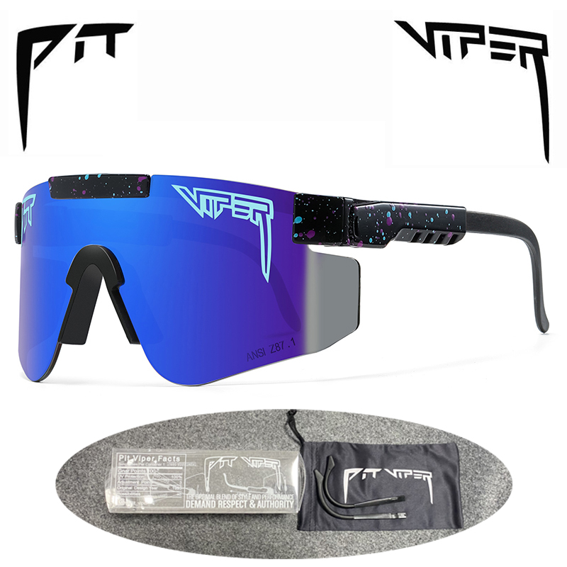 PIT VIPER Outdoor Cycling Glasses Double Legs UV400 Sports Eyewear Bike Bicycle Sunglasses Wide Men Women Mtb Goggles with Case