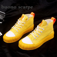 2019 autumn new canvas shoes female students thick-soled hig