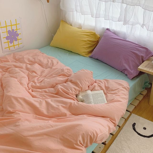 Korean Simple Bedding Set Aesthetic Modern Design Bedding Set For Girls Space Bedroom Colchones De Cama Four Piece Suit BD50CJ 1