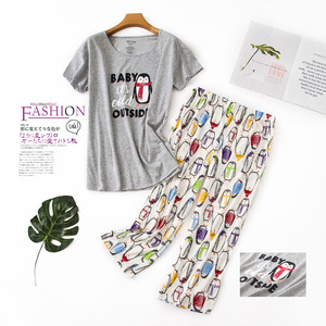 Image 3 - New Plus Size Pajamas for Women Summer Short Sleeves Calf Length Pants Pijama Mujer V Neck Printing Loungewear Pyjamas Sleepwear