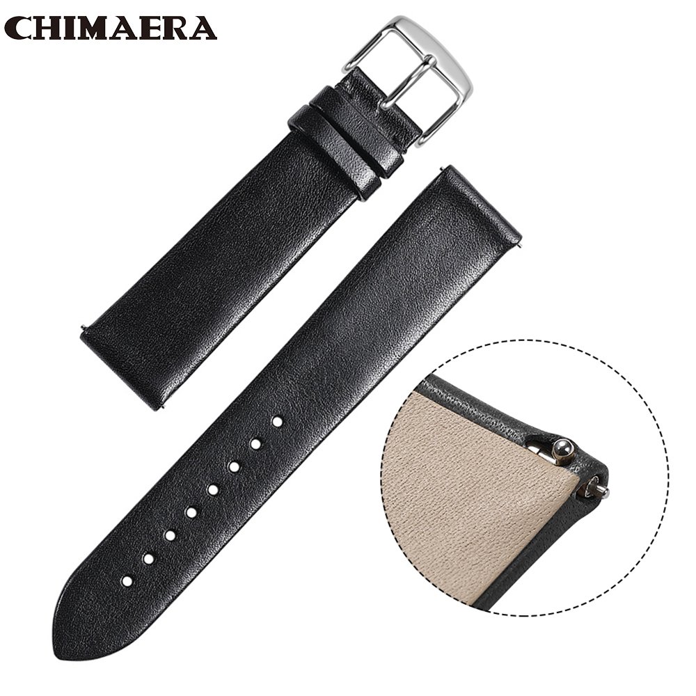 CHIMAERA Watch Band Quick Release Leather Strap Black Brown Coffee 18mm 19mm 20mm 21mm 22mm Watch Band Strap Silver Buckle Clasp-in Watchbands from Watches