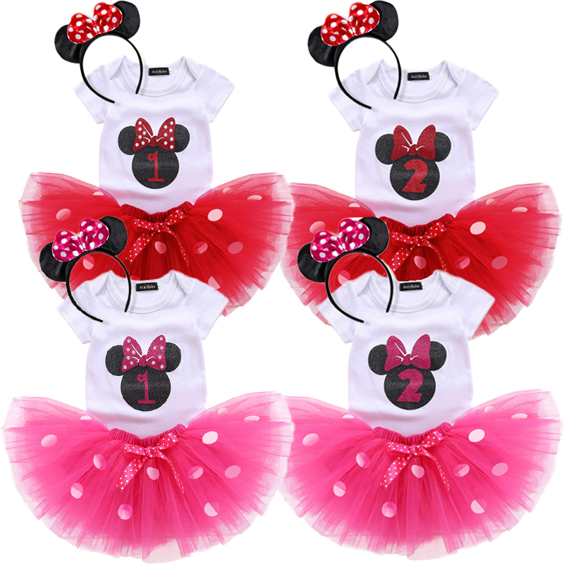 Infant Minnie Mouse Costume | Newborn Baby Girl Tutu Minnie Mouse Polka Dots Dress 1st 2nd Birthday Outfits Costume Infant Dress Girl Party Summer Clothes