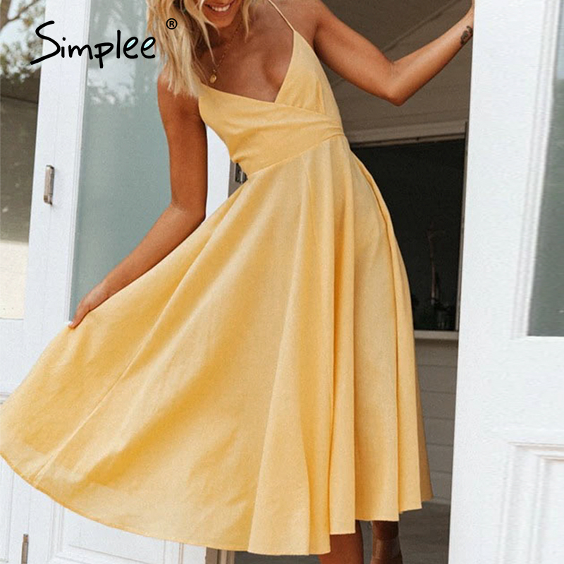Simplee Elegant Solid Women Dress Pocket Sexy Yellow Backless Midi Dress Summer Holiday Casual Female Plus Size Beach Vestidos