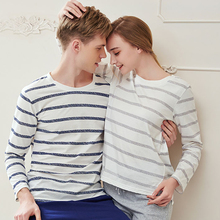 Pajama Set Cotton Gray Striped O neck Sleepwear Couple Home Clothes Plus Size High Quality Male Underwear Set 2020