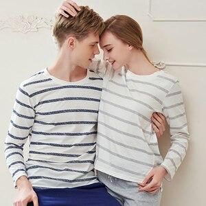 Image 1 - Pajama Set Cotton Gray Striped O neck Sleepwear Couple Home Clothes Plus Size High Quality Male Underwear Set 2020