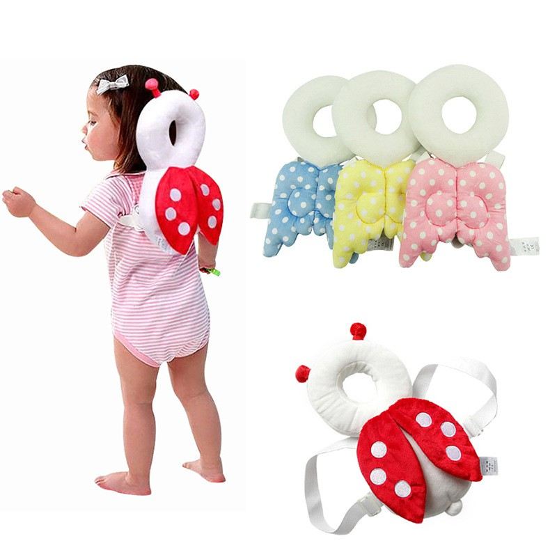 Baby Pillow Toddler Headrest Child Protection Baby Head Protection Pad Cute Angel Wings Shatter-resistant Breathable