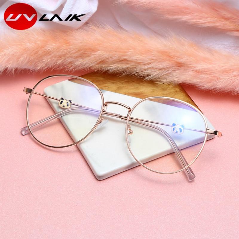 UVLAIK Oversized Boy Girl Panda Myopia Glasses Luxury Brand Design For Teenages Hign Clear Lens Degree 0 Anti Blue -50.-100.-600