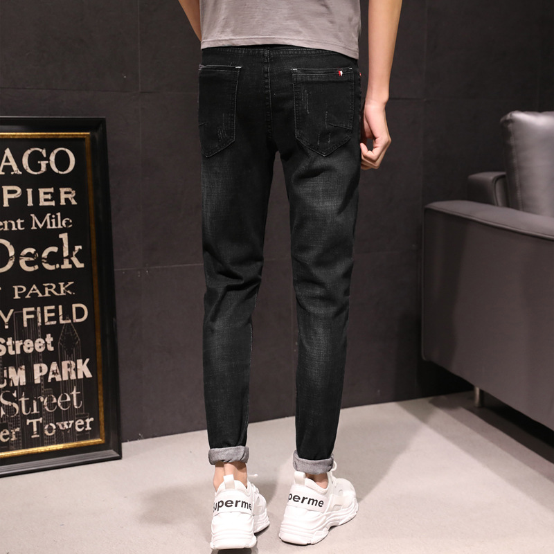 Red Button Jeans Men's Korean-style Trend Elasticity Pants Paragraph Four Seasons Cowboy Trousers Breathable Slim Fit Elasticity