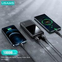 USAMS 10000mAh Power Bank Dual USB Powerbank For Xiaomi mi /iphone/Huawei/Samsung Mobile Phone USB C External Battery Charger