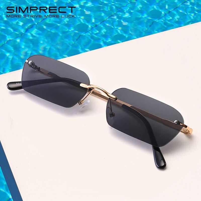 Квадратные Солнцезащитные очки SIMPRECT для женщин 2020, маленькие солнцезащитные очки без оправы, мужские Ретро Винтажные Солнцезащитные очки, ...