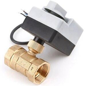 Image 4 - AC220V DN15 DN20 DN25 pirinç elektrikli vana 2 way motorlu bilyalı vana üç teller elektrikli aktüatör ile manuel anahtar