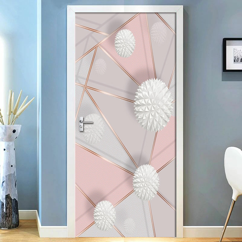 Removable Door Stickers 3D Geometric Marble Stitching Waterproof Living Room Bedroom Door Wallpaper Self Adhesive Wall Decals
