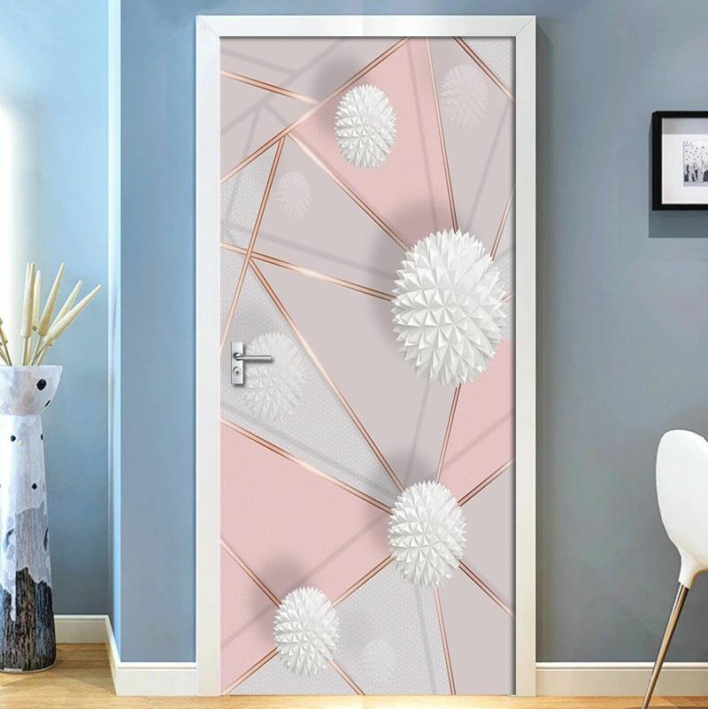 Removable Door Stickers 3D Geometric Marble Stitching Waterproof Living Room Bedroom Door Wallpaper Self Adhesive Wall Decals