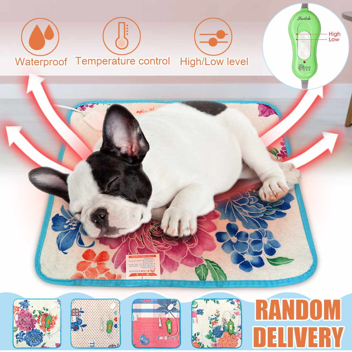 Waterproof Electric Heating Pad Pet Heated Seats Mat Electric Blanket Cat Dog Heater Pad Body Winter Warmer Bed Seat Random Sent