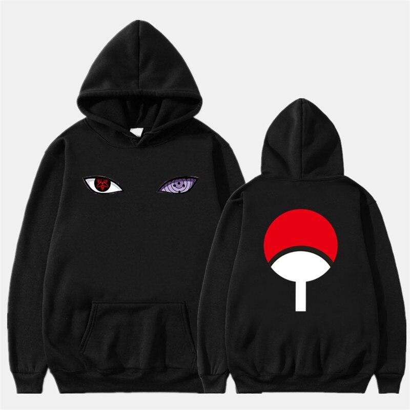 2019 Winter New Arrival Harajuku Anime Hoodies Naruto Uchiha Uzumaki Hatake Eyes Printing Pullover Sweatshirt Hip Hop Streetwear
