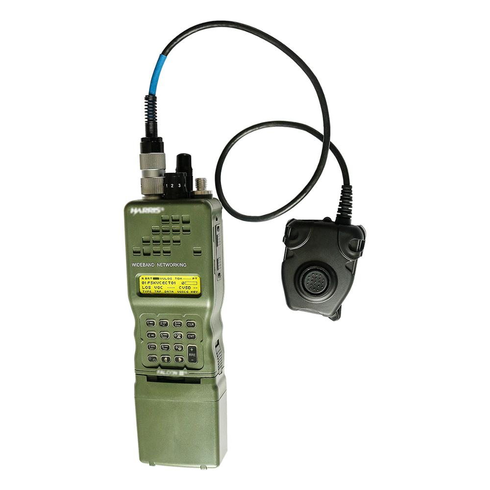 Купить с кэшбэком Harris Dummy Radio Case PRC-152 PRC 152 ,Military Talkie-Walkie Model for Baofeng Radio,No Function+With Peltor 6 Pin PTT plug